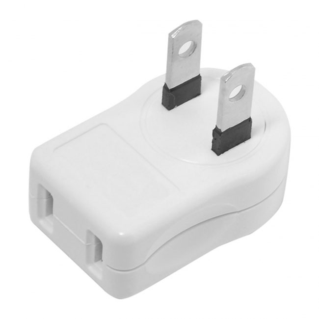 NEMA 1-15P USA Outlet Saver Power Extension Adapter 2-prong 2 Outlets 90 Degree Up Down Angled