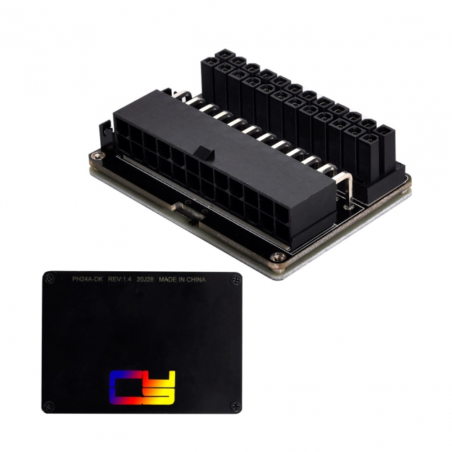 ATX 24Pin Female to 24pin Male 90 Degree Power Adapter Mainboard Motherboard With RGB Led for Desktops PC Supply