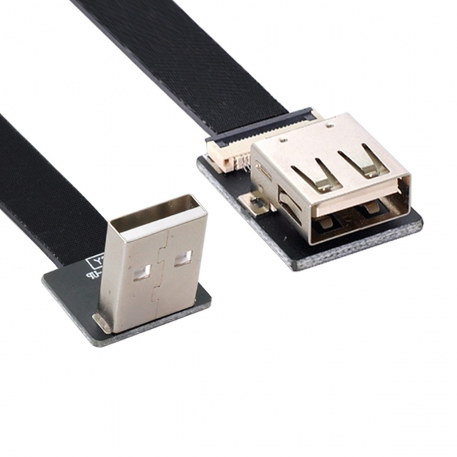 Up Angled USB 2.0 Type-A Male to Female Extension Data Flat Slim FPC Cable for FPV & Disk & Scanner & Printer