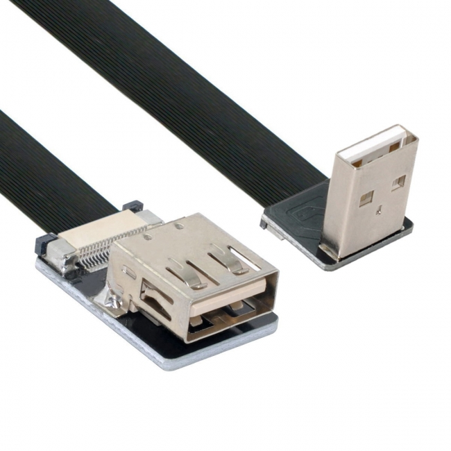 Down Angled USB 2.0 Type-A Male to Female Extension Data Flat Slim FPC Cable for FPV & Disk & Scanner & Printer